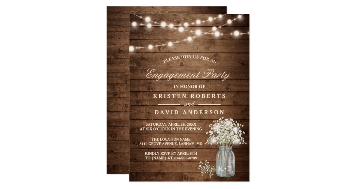 Baby S Breath Mason Jar Rustic Engagement Party Card