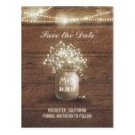 baby's breath mason jar rustic save the date postcard