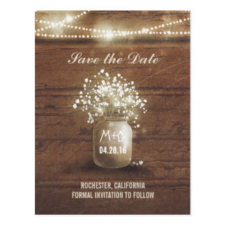 baby's breath mason jar rustic save the date postcard