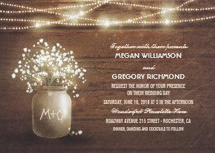 Baby S Breath Mason Jar Rustic Vintage Wedding Invitation
