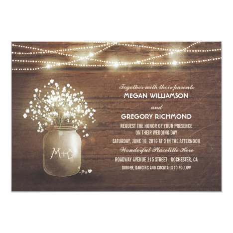 Baby's Breath Mason Jar Rustic Vintage Wedding Invitation