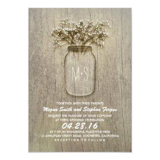 Baby's Breath Mason Jar Rustic Wedding Card
