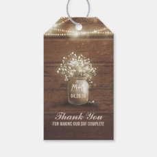Baby's Breath Mason Jar Rustic Wedding Gift Tags