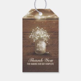 Baby's Breath Mason Jar Rustic Wedding Gift Tags
