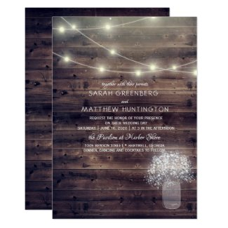 Baby's Breath Mason Jar Rustic Wedding Invitation