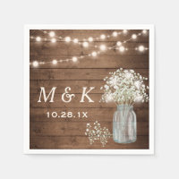 Baby's Breath Mason Jar Rustic Wedding Monogram Paper Napkin