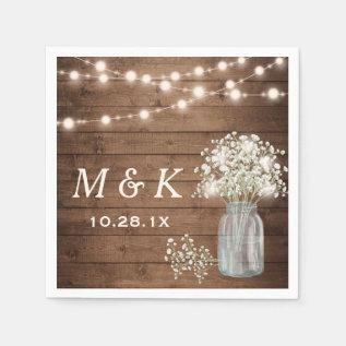 Baby's Breath Mason Jar Rustic Wedding Monogram Paper Napkin at Zazzle