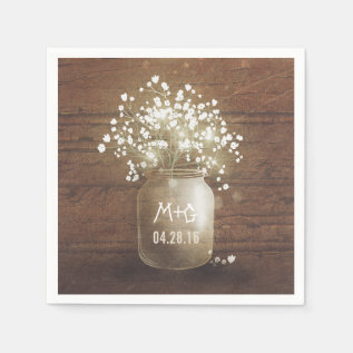 Baby's Breath Mason Jar Rustic Wedding Paper Napkin at Zazzle