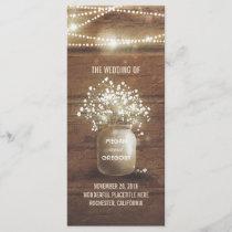 Baby's Breath Mason Jar Rustic Wedding Programs