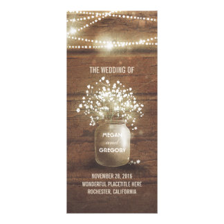Baby's Breath Mason Jar Rustic Wedding Programs