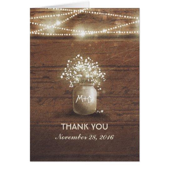 baby's breath mason jar rustic wedding thank you card | zazzle, Baby shower invitations