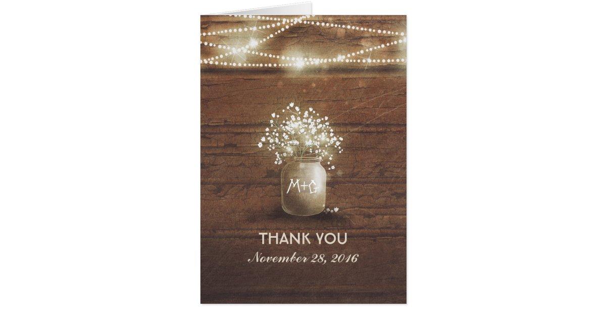 baby u0026 39 s breath mason jar rustic wedding thank you card