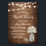 """Baby&#39;s Breath Mason Jar Rustic Wood Bridal Shower Card<br><div class=""""desc"""">================= ABOUT THIS DESIGN ================= Baby&#39;s Breath Mason Jar Rustic Wood Bridal Shower Invitation Template. (1) For further customization, please click the &quot;Customize it&quot; button and use our design tool to modify this template. All text style, colors, sizes can be modified to fit your needs. (2) If you prefer thicker...</div>"""