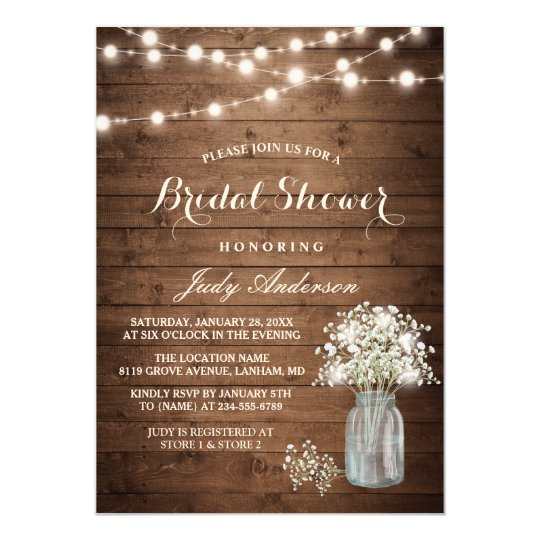 Winter wedding invitations announcements zazzle baby39s breath mason jar rustic wood bridal shower card stopboris Images
