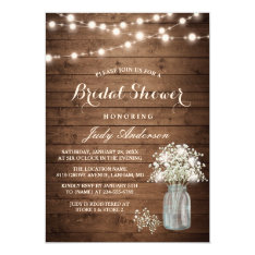 Baby's Breath Mason Jar Rustic Wood Bridal Shower Invitation at Zazzle