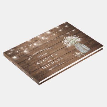 Toddler & Baby themed Baby's Breath Mason Jar Rustic Wood Lights Wedding Guest Book