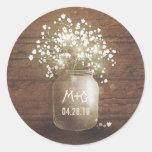 Baby's Breath Mason Jar Rustic Wood Wedding Classic Round Sticker at Zazzle