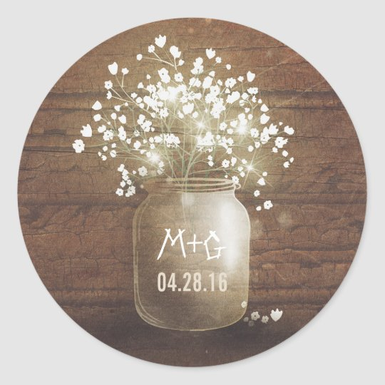 Babys breath mason jar rustic wood wedding classic round sticker