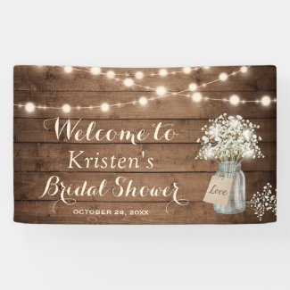Baby's Breath Mason Jar String Light Bridal Shower Banner