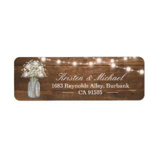 Baby's Breath Mason Jar String Lights Rustic Wood Label at Zazzle