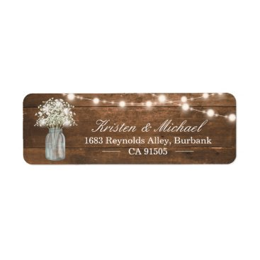 CardHunter Baby's Breath Mason Jar String Lights Rustic Wood Label