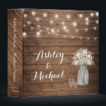 """Baby's Breath Mason Jar String Lights Wedding Binder<br><div class=""""desc"""">Baby's Breath Mason Jar String Lights Wedding Planner Binder.  (1) For further customization,  please click the """"customize further"""" link and use our design tool to modify this template.  (2) If you need help or matching items,  please contact me.</div>"""