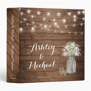 Baby's Breath Mason Jar String Lights Wedding Binder at Zazzle