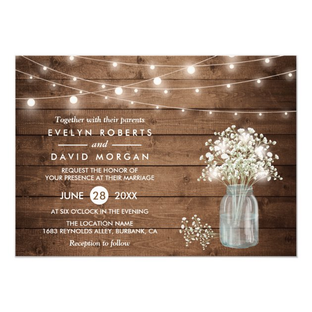 20 String Lights Invitations for Romantic Evening Weddings Mimoprints