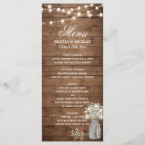 Baby's Breath Mason Jar String Lights Wedding Menu
