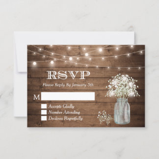 Baby's Breath Mason Jar String Lights Wedding RSVP