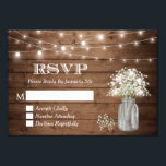 """Baby&#39;s Breath Mason Jar String Lights Wedding RSVP Card<br><div class=""""desc"""">================= ABOUT THIS DESIGN ================= Classy White Lace in Kraft Wedding RSVP Reply Card. (1) For further customization, please click the &quot;Customize it&quot; button and use our design tool to modify this template. All text style, colors, sizes can be modified to fit your needs. (2) If you need help or...</div>"""