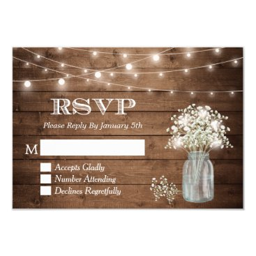 Toddler & Baby themed Baby's Breath Mason Jar String Lights Wedding RSVP Card