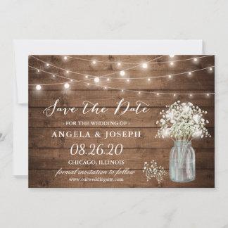 Baby's Breath Mason Jar String Lights Wedding Save The Date