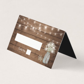 Baby's Breath Mason Jar String Lights Wood Wedding Place Card