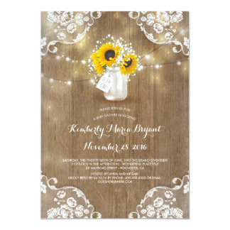 Baby's Breath Mason Jar Sunflowers Baby Shower Card