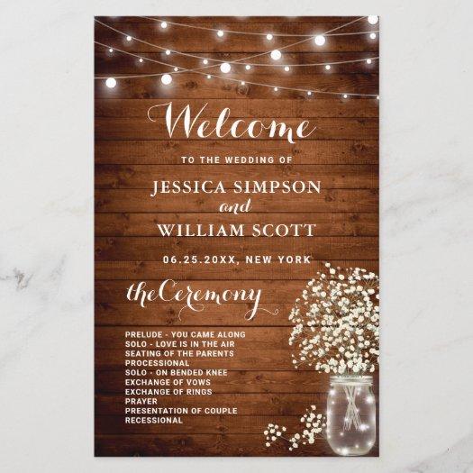 Baby's Breath Mason Jar Wedding Ceremony Program