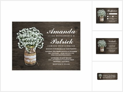 Babys Breath Mason Jar Wedding Invitations Set
