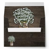 Baby's Breath Mason Jar Wood Wedding Envelopes