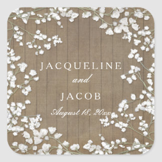 Baby's Breath Modern Rustic Country Western Wreath Square Sticker