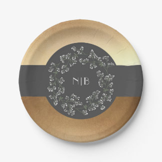 Baby's Breath Monogram Gold and Grey Wedding Paper Plate