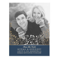 baby's breath navy and gold photo save the date postcard