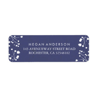 Baby's Breath Navy and Silver Wedding Label