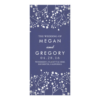 Baby's Breath Navy and Silver Wedding Programs