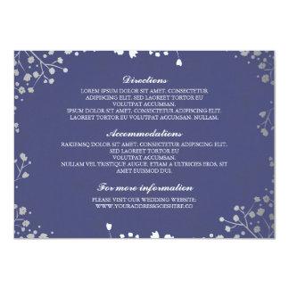 Baby's Breath Navy Silver Wedding Details Card