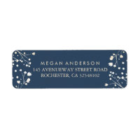 Baby's Breath Navy Wedding Label