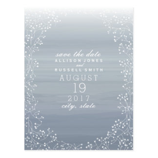 Baby's Breath Ombre Watercolor Save The Date Postcard