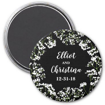 Bride Themed Babys Breath Personalized Save the Wedding Date Magnet