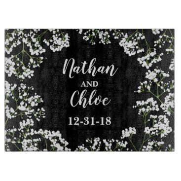 Bride Themed Babys Breath Personalized Wedding Date on Black Cutting Board