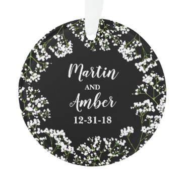 Bride Themed Babys Breath Personalized Wedding Date on Black Ornament
