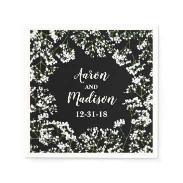 Bride Themed Babys Breath Personalized Wedding Date on Black Paper Napkin